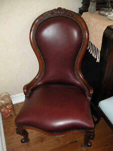 antique victorian ladies chair, new burgundy leather REDUCED