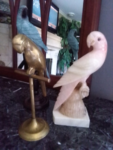 Antique Marble brass and wood parrot bird statues