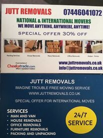 MAN &VAN SPECIAL OFFER 30%OFF WE MOVE ANYTHING,ANYTIME,ANYWHERE visit our website JUTT REMOVALS