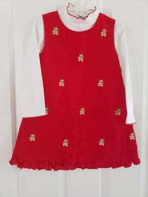 Rare Too! Girls Size 5 Red Teddy Bear Corduroy Jumper Dress Christmas Holiday