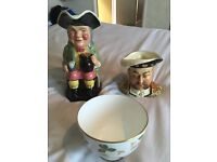 Vintage Toby jugs and Wedgwood sugar bowl