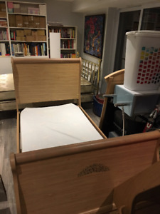 Children's Oak Sleigh Bed with Accompanying Mirror