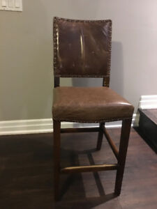 Barstool brown leather chairs