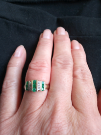 9ct yellow gold ring. Emerald and diamond. Size K
