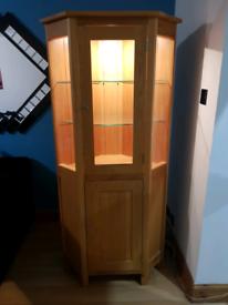 Solid oak corner display cabinet unit