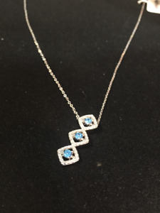 Sterling Silver Necklace with Blue Gemstones