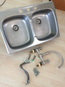 Double stainless steel sink and faucet