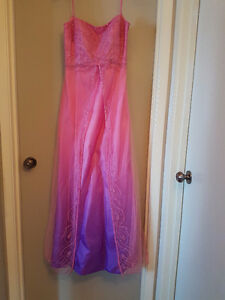 Size 7 Purple and Pink Grad Dress