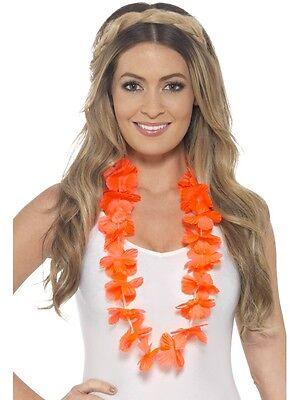 Hawaiian Fancy Dress Lei Garland Orange Floral Hawaiin Necklace New by - Hawaiin Lei