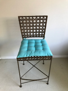 Wicker and metal bar stool & occasional table