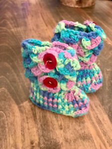 Hand knit booties for baby girl brand new