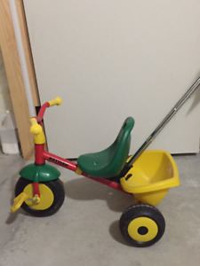 ** LIKE NEW** Kettler tricycle w/ adult pushbar and rear bucket