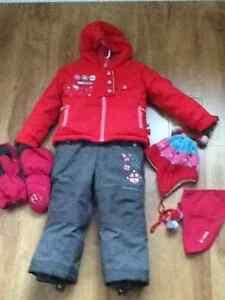 Snowsuit Souris Mini size 2, tuque, neck warmer and mits