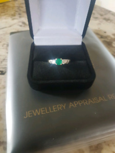 Diamond and Emerald 14k Engagement ring