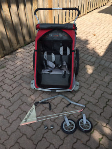 Thule Chariot Stroller for 2 children with bike attachment