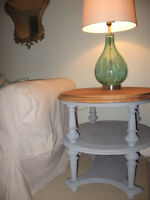 vintage caned side table