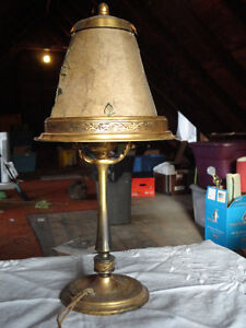 Vintage Brass Bedside Lamp with Brass & Paper Shade