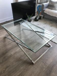 Table de salon vitre et chrome, Coffee table glass and chrome
