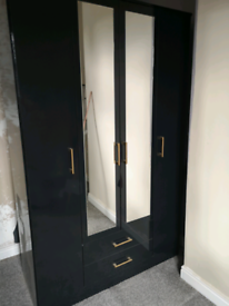 Black gloss 4 door wardrobe