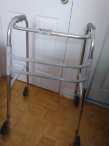 Walker,  folding, with 4 wheels ( removable), height  adjustable