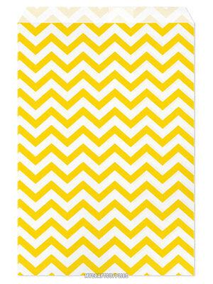 100 Flat Merchandise Paper Bags 6 X 9 Yellow Chevron Stripes On White