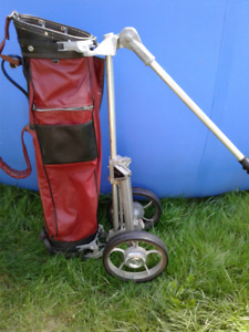 Vintage Golf Bag/ Clubs and Golf Pull/Push Cart