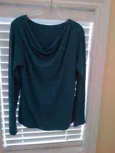 Long-sleeve top - Boat neck - Teal