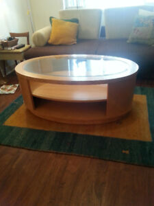 Gorgeous Oval Honey Coloured Maple Burl Coffee and End Table