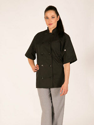 Classic Chef Coat Black Color Short Sleeve Chef Jacket - Black