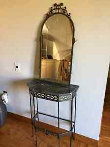Antique Brass & Marble Hallway Table and Matching Arched Mirror Kingston Kingston Area image 1