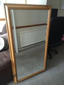 LARGE PINE BEVELLED EDGE MIRROR IN GOOD CONDITION