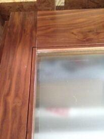 Pair of Solid Walnut Glazed Interior doors