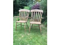 Antique pine carver chairs