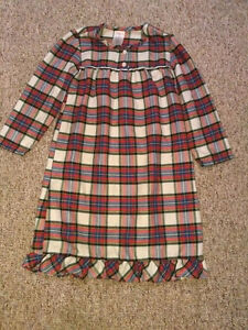 Girls Lands End Plaid Flannel Nightgown Size 16
