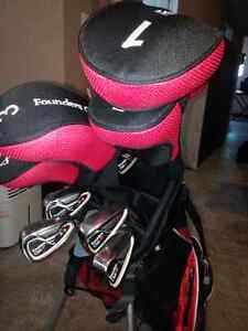 Golf clubs and bag.