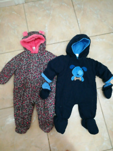 Brand new 3-6 month snowsuit with mittens