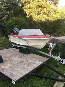 speedboat, motor and trailer