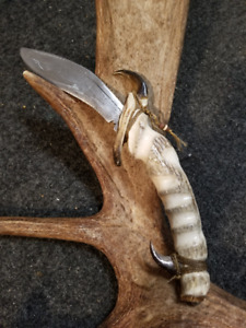 Hand carved Moose Antler Knife with Bear claw finger guards