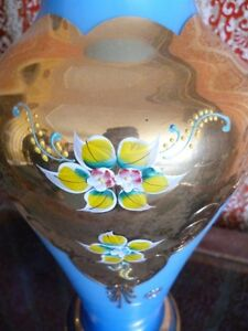 Beautiful Large soft blue/turquoise and gold colored flower vase London Ontario image 3
