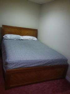 Queen Bed (Used Twice) and Simmons Mattress - From Guest Room