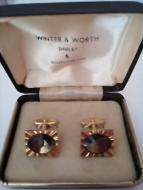 1970s Vintage Stone set Cufflinks in original case! Doorstep viewing!!