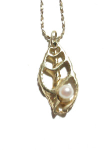 "14k Gold Necklace / Chain & Pendant Pearl.  15"" Length"