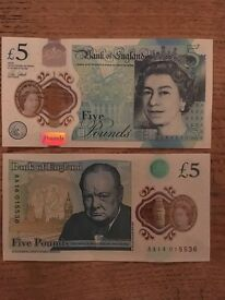 £5 note AA14
