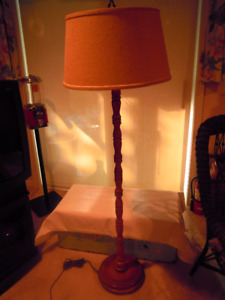 Floor Lamp - Tri-Light,Turned Spindle - all solid wood (Roxton?)