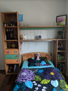 TWIN BED WITH SHELVING UNIT SET