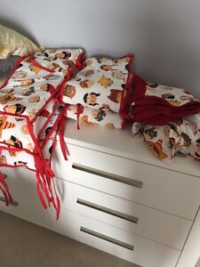 Crib bumper pad, duvet cover and bed skirt