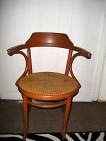Vintage 1940s ROSEWOOD Bent Barrel Chair with Caned Seat