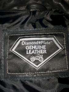 Diamond Plate Genuine Leather vest jacket