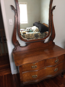 Antique solid oak dresser with mirror