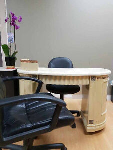 6-MANICURE TABLES,WITH CLIENT,AND STAFF CHAIRS,+MORE